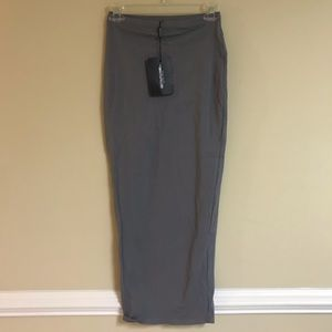 PrettyLittleThing Long Grey Fitted Skirt